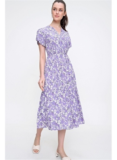 Pink Park Kurvaze Eteği Fırfırlı Dokuma Elbise RD00027 Lila